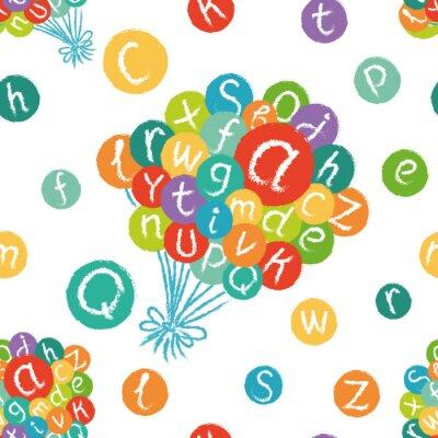 Фотообои Вектор бесшовные модели - смешной английский алфавит. Ручной обращается мел, как буквы в красочных кругах.