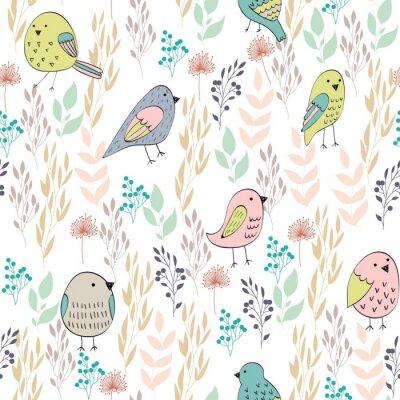 Фотообои Векторный бесшовные модели с птицами и цветами