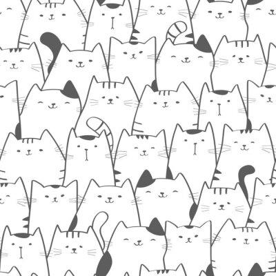 Фотообои Вектор бесшовный образец с милыми кошками. Doodle Art. Кошка бесшовные рисованной фон