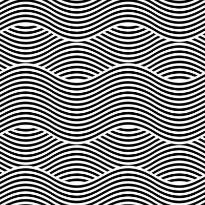 Фотообои Вектор бесшовных текстур. Современный геометрический фон. Повторяющийся узор с волнистыми линиями.