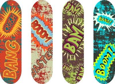 Фотообои Вектор скейтборд дизайн пакет с эффектами мультяшном стиле