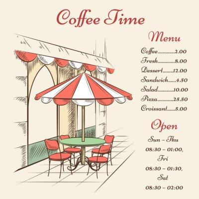 Фотообои Vector street cafe poster