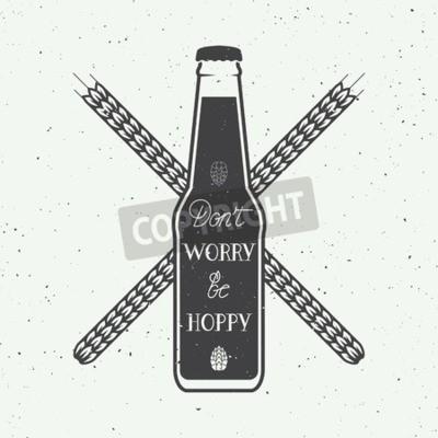 Фотообои Урожай векторный логотип пиво с надписью рукой весело мотивации цитаты
