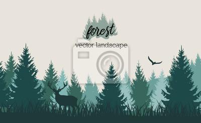 Фотообои Вектор старинные лес пейзаж с синими и жадными силуэты деревьев и диких животных