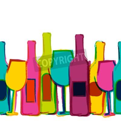 Фотообои Вектор акварель бесшовного фона, красочные винные бутылки и стаканы. Концепция меню бара, партии, алкогольные напитки, праздники, карта вин, листовки, брошюры, плакат, баннер. Творческий модный дизайн
