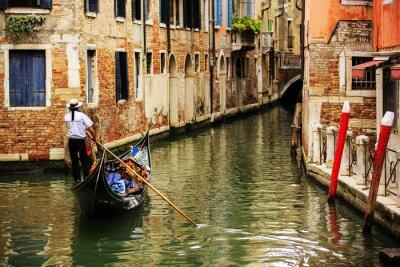 Фотообои Венеция, Италия - гондольер и исторические посада