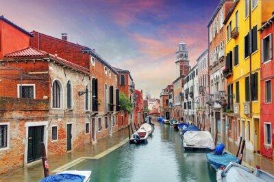 Фотообои Венеция ориентир, канал, красочные дома и лодки, Италия