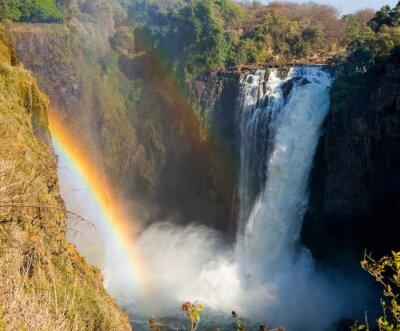 Фотообои Водопад Виктория. Общий вид радуги. Национальный парк. Моси-оа-Tunya Национальный парк. и Всемирного наследия. Zambiya. Зимбабве. Отличной иллюстрацией.