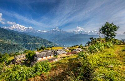 Фотообои Деревня в горах Гималаев в Непале