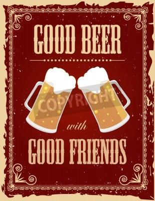 Фотообои Урожай постер пиво с гранж эффектов.