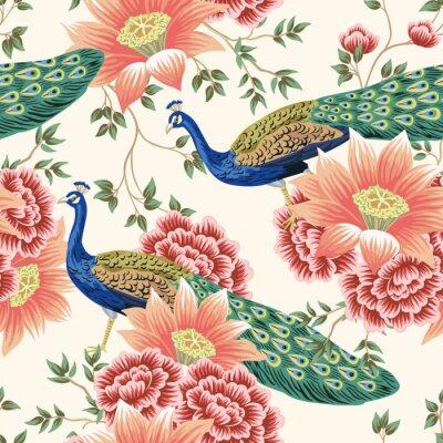 Фотообои Vintage Chinese flower lotus rose, leaves, peacock bird seamless border pink background. Exotic oriental wallpaper.