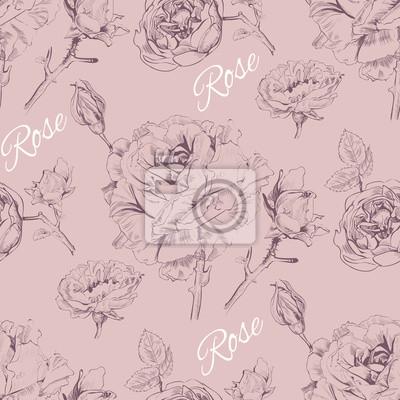 Фотообои Урожай графический дизайн розы бесшовные pattern.Background для роз косметики, цветочный магазин, салон красоты, природные и органические продукты. Векторная иллюстрация