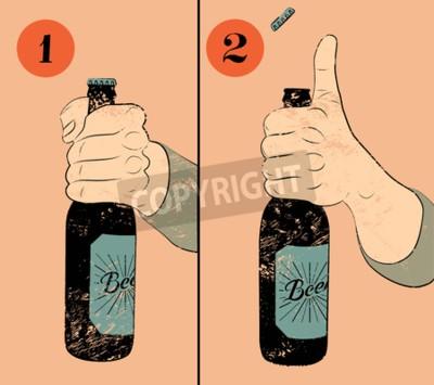 Фотообои Урожай стиле гранж пиво постер. Юмористическая инструкция плакат для открытия бутылку пива. Руки держать бутылку пива. Векторная иллюстрация.