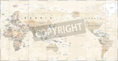 Фотообои Винтаж политической карты мира Тихоокеанский центр - вектор.
