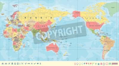 Фотообои Винтажная политическая карта мира Тихоокеанский центр - вектор.
