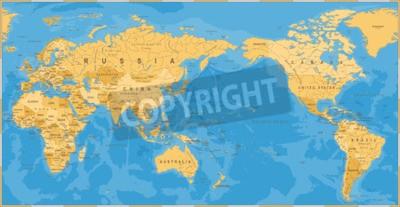 Фотообои Винтажная политическая карта мира Тихий океан центрировала - вектор.