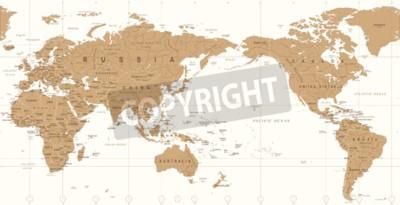 Фотообои Старинный политический мир карта Тихоокеанского центрированного Векторный icon.