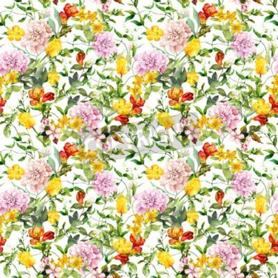 Фотообои Vintage summer flowers, leaves, herbs. Repeating floral background. Watercolor