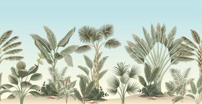 Фотообои Vintage tropical palm tree, banana tree, plant floral border blue background. Exotic jungle wallpaper.