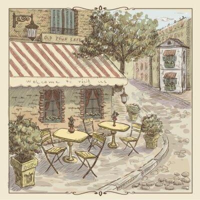 Фотообои Старинные иллюстрации акварель уличного кафе в Старом городе