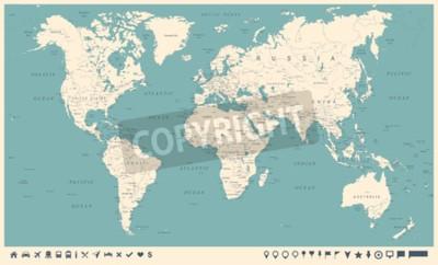 Фотообои Винтажная карта мира и маркеры - подробная векторная иллюстрация