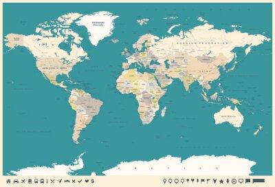 Фотообои Винтажная карта мира и маркеры - иллюстрация