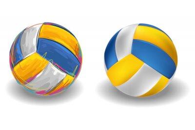 Фотообои Волейбол Изолированные на белом фоне. Все элементы в отдельных слоях и сгруппированы.