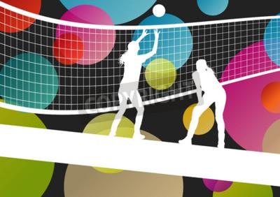 Фотообои Волейбол игрок силуэты в спорте абстрактные векторные иллюстрации фона