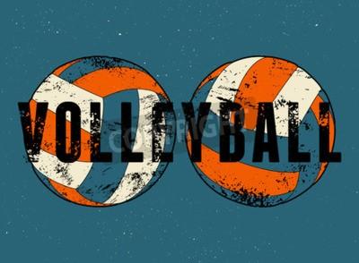 Фотообои Волейбол типографских старинных стиле гранж плакат. Ретро векторные иллюстрации.