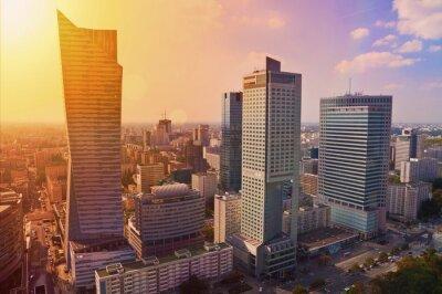Фотообои Варшава города - воздушная фотография современных небоскребов на закате