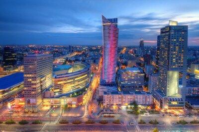 Фотообои Варшава wieczorna панорама Miasta