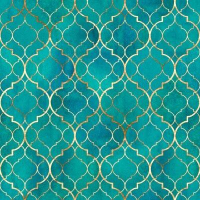 Фотообои Watercolor abstract geometric seamless pattern. Arab tiles. Kaleidoscope effect. Watercolour vintage mosaic texture