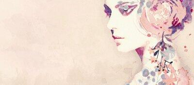 Фотообои Watercolor abstract portrait of girl. Fashion background.
