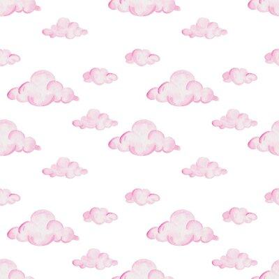 Фотообои Акварельный детский душ. Розовые облака на белом фоне. Для дизайна, печати или фона