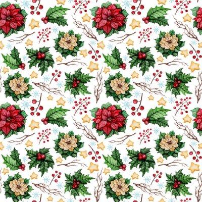 Фотообои Акварель Рождество бесшовные модели с Poinsettia, звездами и Холли