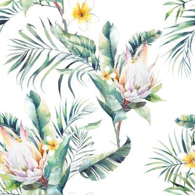 Фотообои Акварель экзотические бесшовные модели. Повторяя текстуру с растениями, тропический букет: ветви пальмы, протеа, листья банана, цветок франджипани. Дизайн летних обоев