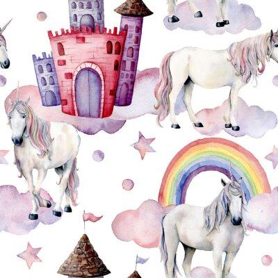 Фотообои Акварельный сказочный рисунок с единорогами. Ручная роспись магических лошадей, замок, радуга, облака, звезды, изолированных на белом фоне. Симпатичные обои для дизайна, печати или фона.