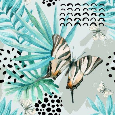 Фотообои Акварель графическая иллюстрация: экзотическая бабочка, тропические листья, каракули элементы на фоне гранж.