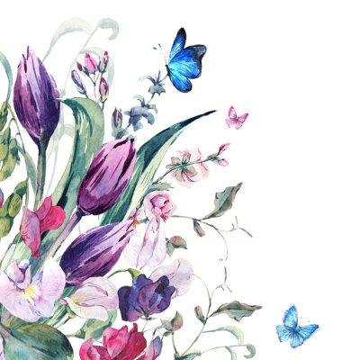 Фотообои Акварели Поздравительная открытка с душистого горошка, тюльпаны