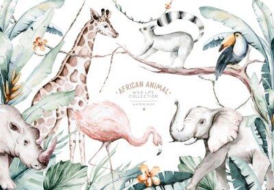 Фотообои Watercolor illustration of African Animals: lemur, flamingo and giraffe, toucan and rhipo, rhino and elephant isolated white background. Safari savannah animals