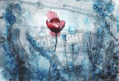 Фотообои watercolor illustration. red poppy flower