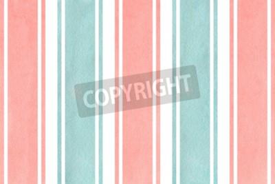 Фотообои Акварельный светло-розовый и голубой полосатый фон. Акварельный геометрический рисунок.