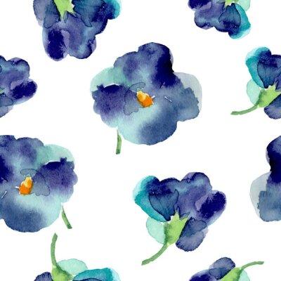 Фотообои Акварель фиолетовыми цветами бесшовные модели.