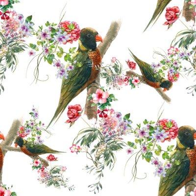 Фотообои Акварельная живопись с птицами и цветами, бесшовные модели на белом фоне