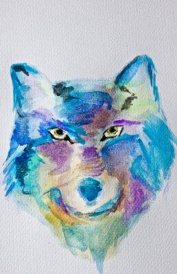 Фотообои Акварельная живопись Волк на белом фоне альбома. Влажные техника. Синие фиолетовые оттенки. Современное искусство. Досуг.