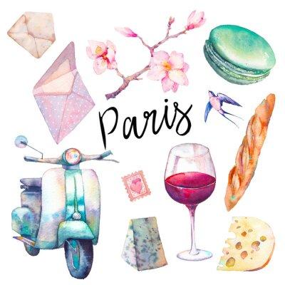 Фотообои Акварель Парижа. Рисованные элементы французской культуры, изолированных на белом фоне: старинные скутер, макарон, сыр, красное вино стекла, магнолия плеча, багет.