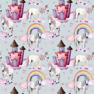 Фотообои Акварельный рисунок с единорогами и декором сказки. Ручная роспись магических лошадей, замок, радуга, облака, звезды, изолированных на белом фоне. Симпатичные обои для дизайна, печати или фона.