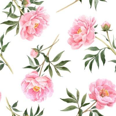 Фотообои Watercolor peony seamless vector pattern