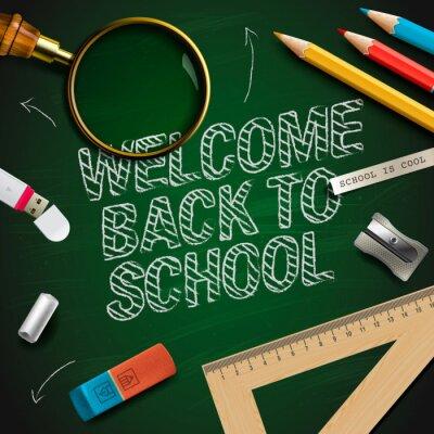 Фотообои Добро пожаловать обратно в школу, векторные иллюстрации eps10.