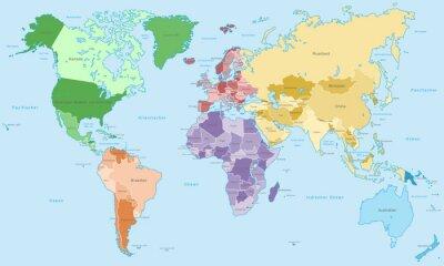 Фотообои Weltkarte - Einzelne Kontinente в Farbe (Хохер Detailgrad)